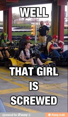 Ohmygoodness I so want to get my friends to dress up like them and go go carting!