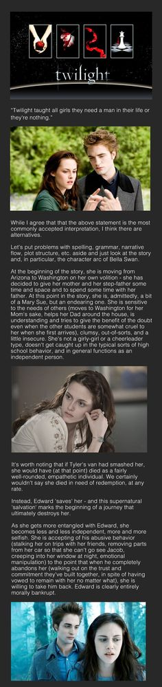 """Interesting theory on Twilight. Bella was better off never meeting Edward; the """"salvation"""" he offered her destroyed her."""