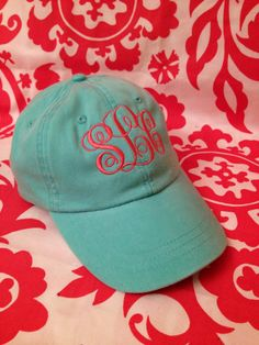 Monogrammed Baseball Cap, in baby blue, with white embroidery. .