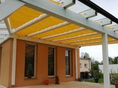 Sonnenschutz seilzug terrasse in farbe gelb ausgefahren - Beschattung wintergarten seilspann ...