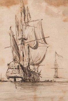 Willem Van De Velde. Marine Landscape Study, 17th Century.