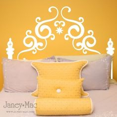 Queen Headboard Wall Decal- in silver metallic