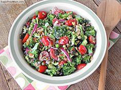 Mayo Free Broccoli Salad with Honey Yogurt Dressing | SugarFreeMom.com/