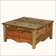 """Create a warm and rustic atmosphere with historic old wood and lots of table space. Our #Rustic Alpine 35.5"""" square #coffeetable chest with a double lid. The handmade multi-use storage box features a scalloped bottom and simple framing on all sides. Each lid is attached to the center with two hinges and a single interior chain. #interiors #contemporaryfurniture #homedecor #furniture #homeinspiration   http://www.sierralivingconcepts.com/"""