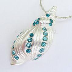 Seashell necklace with rhinestones  Bridesmaid Bride by GlamFloral, $22.00