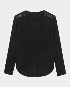 Top drapé à épaules en cuir - Tous les produits - Femme - The Kooples