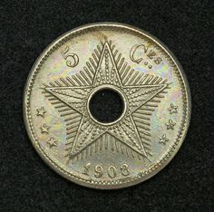 Congo Free State 5 Centimes Coin of 1908, King Leopold II