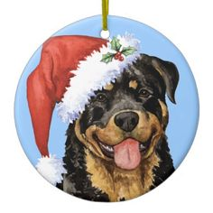 Celebrate the holiday season with a cute Rottweiler wearing a Santa hat with the words, Happy Howlidays, on the back! Great holiday gift idea for Rottweiler-loving family and friends.  #holiday, #happy #howlidays, #dog, #holly, #rottweiler, #rottie, #santa #hat, #happy #holidays, #weily, #rott