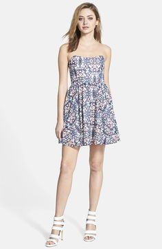 Wayf Strapless Print Fit & Flare Dress available at #Nordstrom