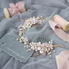 Rose quartz headpiece Bridal hair comb Wedding accessories