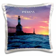 3dRose Lighthouse At Michigan City Indiana, Pillow Case, 16 by 16-inch