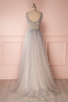 Adaya Grey & Champagne Tulle Gown with Beaded Bodice Lavender Wedding Dress, Garden Party Wedding, Tulle Gown, Online Fashion Boutique, Bustier, Formal Dresses, Wedding Dresses, No Frills, Boudoir