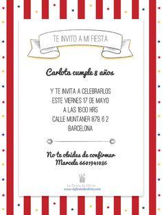Invitaciones personalizadas gratis en español www.lafiestadeolivia.com / invitaciones fiesta de circo / circus party invitation / #lafiestadeolivia #invitaciones Bar Menu, Ideas Para Fiestas, Minnie Mouse Party, Birthday Party Decorations, Birthday Invitations, I Am Awesome, Writing, Cards, Party Ideas