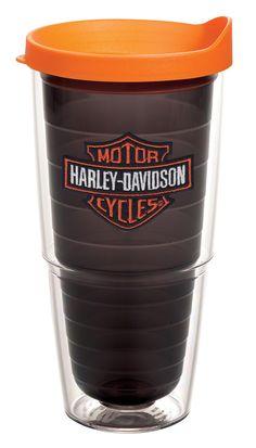 tervis harley davidson tumbler | Harley-Davidson® Orange Quartz Bar & Shield Emblem 24oz Tervis ...