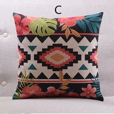 Southeast Asian style geometric throw pillow for home decor flower sofa cushions