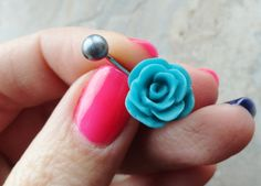 Turquoise Blue Rose Flower Belly Button Ring on Etsy, $15.00