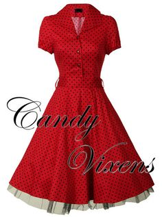 PIN-UP VTG 40'S 50'S RED ROCKABILLY PROM PARTY POLKA DOT SWING DRESS SIZES 8-18