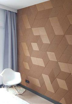 "Re-Cork Decor ""Stripe"" panels Tv Wall Panel, Wall Panel Design, Wood Panel Walls, 3d Wall Tiles, Wall Tiles Design, Living Room Wall Designs, Home Room Design, Wall Cladding Interior, Textured Wall Panels"
