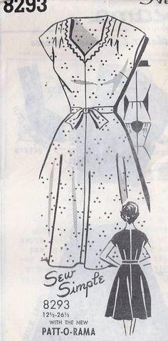 Love the neckline shape! 1950s Misses Dress Vintage Sewing Pattern, Patt-O-Rama 8293.