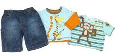 3-tlg. Kombination für Jungen: Jeans, Langarmshirt, T-Shirt, Größe: 62, englische Mode