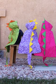 Dino Cape with Hood  Dinosaur Costume - I can't wait to find cute dfabric to make some of these