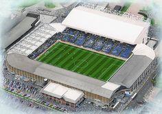 Elland Road in Art, home of Leeds United F.C. Great gifts @ sportsstadiaart.com