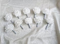 Set of 10 White foam rose silver glitter brooches silver flowers wedding boutonniere corsage satin ribbon custom - pinned by pin4etsy.com