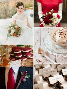 rustic red and green christmas inspiration board for winter wedding