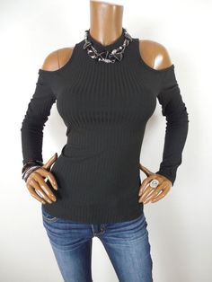 6de665d53f1f4 SHELLY Womens Top M SEXY Black Cold Shoulder Shirt Mock Neck Ribbed Long  Sleeves  Shelly