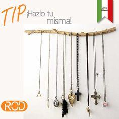 ¡Buen día! Nuestro sencillo #tip de hoy: te recomendamos utilizar una pieza de madera (p. ej. una rama) con clavos o  tachuelas para realizar un práctico organizador de collares.