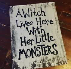 Wood sign halloveen touch Halloween decoration hand made wood working... Monsters are everywhere