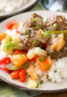 Sweet and Sour Meatballs are a family favorite served over rice! Seasoned ground beef meatballs, tender crisp veggies and pineapple chunks are cooked in a sweet and tangy sauce. This easy dish is one my whole family loves! Sweet N Sour Meatball Recipe, Sweet And Sour Meatballs, Tasty Meatballs, Meatball Recipes, Meat Recipes, Cooking Recipes, Meat Meals, Sauce For Meatballs, Stuffed Meatballs