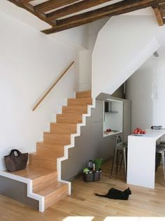 Cool And Simple Pictures Ideas Of Space Saving Staircase Design : Cool Interior Kitchen Design With Stairs Design For Small Spaces And Gloss.