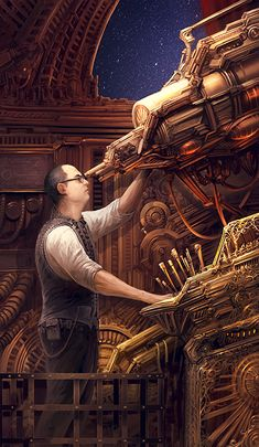 Clockwork Astronomer by brass-and-steam. #steampunk #victorian #Art #gosstudio .★ We recommend Gift Shop: http://www.zazzle.com/vintagestylestudio ★