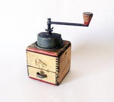 Vintage wood coffee grinder - wood mill and metal - brown coffee grinder. $50.00, via Etsy.