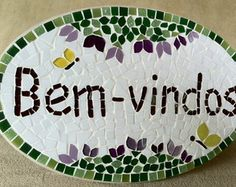 Placa Bem-vindos em mosaico