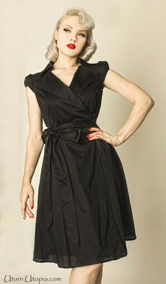 Black Wrap Dress With Belt / Vintage Style /Rockabilly/ Pin Up [Glamour-555] - $64.99 : Uturn Utopia, Retro footwear, Rockabilly Shoes, Vintage Inspired Clothing, jewelry, Steampunk
