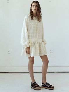 EMBROIDERED FULL SLEEVE TIE DRESS