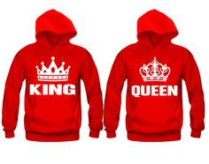 King and Queen Unisex Couple Matching Hoodies Matching Hoodies For Couples, Matching Couple Outfits, Matching Sweaters, Best Friend Hoodies, Cute Couple Shirts, Image Couple, Couple Pajamas, Colorful Hoodies, Outfits For Teens