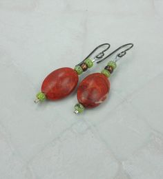 Red Coral Drop Dangle Earrings by JGarloffDesign on Etsy