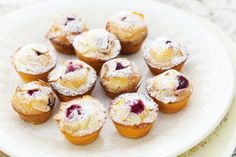 Mini Raspberry Friands by Taste.Com.Au. Topped with crunchy golden almonds, these baby-sized friands are ideal for any special celebration with friends.