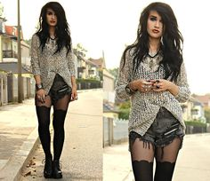 Silence And Noise Hollow Out Sweater, Romwe Shorts