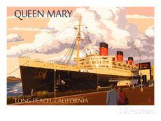 Long Beach, California - Queen Mary Art Print