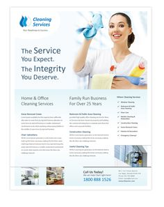 Cleaning & janitorial services flyer template will be a good choice for presentations on cleaning & janitorial services. Find flyer templates - download, edit & print!  http://dlayouts.com/13-All-Items/692-Cleaning-Janitorial-Services-Flyer-Template/flypage.tpl.html