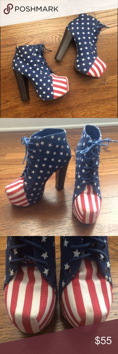 """Patriotic High Heels Perfect for 4th of July! A true show stopper- Platform America Heels. Minor marks on upper toe as pictured.  Heel Height 5""""   No Trading   Reasonable Offers are Always Shoes Platforms"""