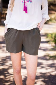 Falling Leaves Olive Green Shorts with Pockets100% PolyesterHand Wash ColdDo Not BleachHang or Line DryMade in USA