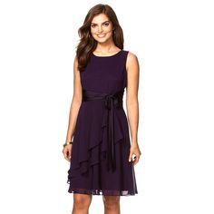 Petite Chaps Georgette Fit & Flare Dress, Women's, Size: 16 Petite, Purple