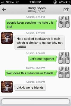 """Harry's DM to a fan! Is this real? I'm going to say that now. """"Hate backwards is etah, which is kind of like eat. Let's go eat."""""""