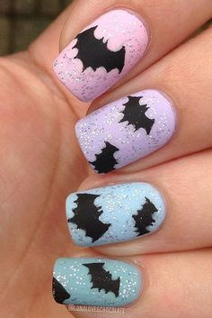I am presenting before you 15 Halloween bat nails art designs & ideas of 2016 that you will love to apply, don't settle for big salons, try these nail art designs, they are so simple and yet so easy to be done by your own self. Love Nails, Fun Nails, Pretty Nails, Cute Halloween Nails, Halloween Nail Designs, Spooky Halloween, Happy Halloween, Simple Nail Art Designs, Nail Polish Designs