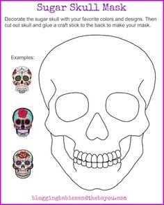 Sugar Skull Mask Printable - Dia De Los Muertos Day of the Dead Activity for Children